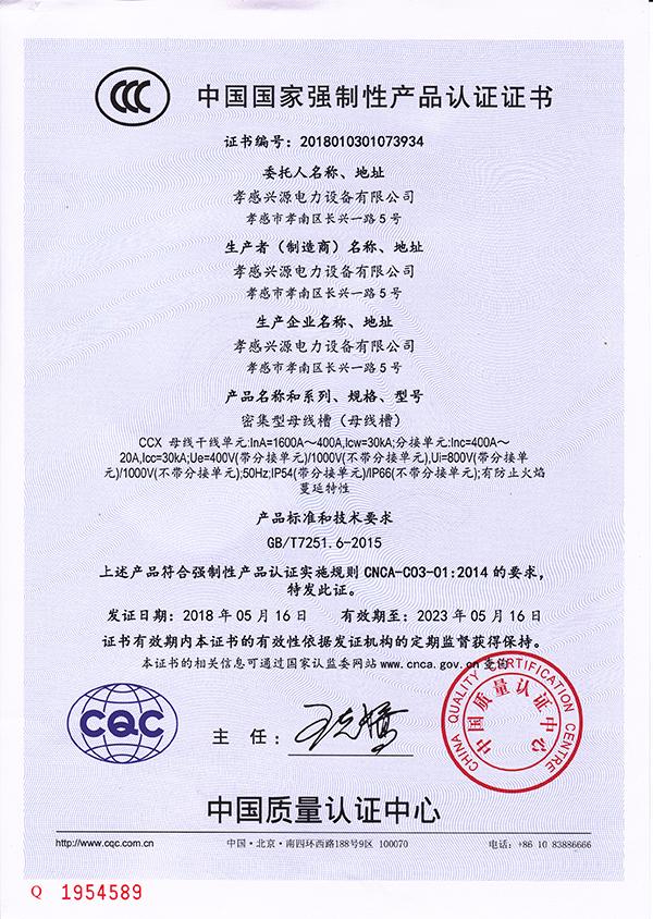 CCX密集母线证书